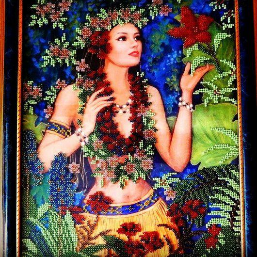 Люди, ручной работы. Ярмарка Мастеров - ручная работа. Купить Картина вышитая бисером Весна. Handmade. Весна, цветы, картина