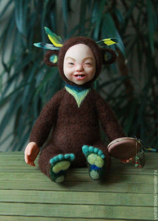 Коллекционные куклы ручной работы. Ярмарка Мастеров - ручная работа. Купить Тедди долл Хитрый Индеец, валяние. Handmade.