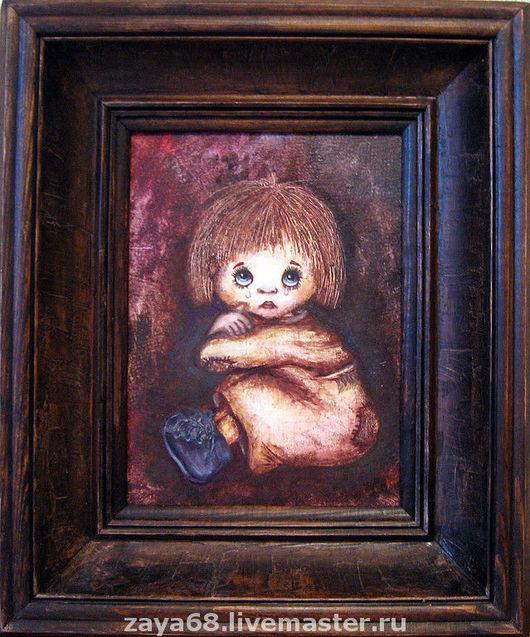 """Люди, ручной работы. Ярмарка Мастеров - ручная работа. Купить Картина """"Плакса"""". Handmade. Бордовый, картина в подарок, картина для интерьера"""