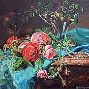 """Картины ручной работы. Ярмарка Мастеров - ручная работа Картины:""""Розы с жемчужным ожерельем"""".. Handmade."""