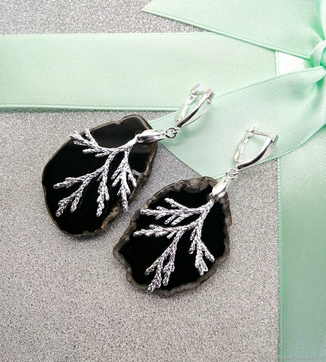 dc7d70d08 Livemaster - handmade. Buy Large silver earrings from sections of agate ' .