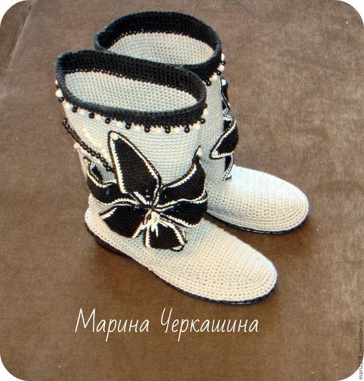 """Обувь ручной работы. Ярмарка Мастеров - ручная работа. Купить Вязаная обувь. Летние вязаные сапожки """"Чёрная лилия"""". Handmade."""