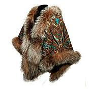 Аксессуары handmade. Livemaster - original item Beautiful shawl with fur. Handmade.