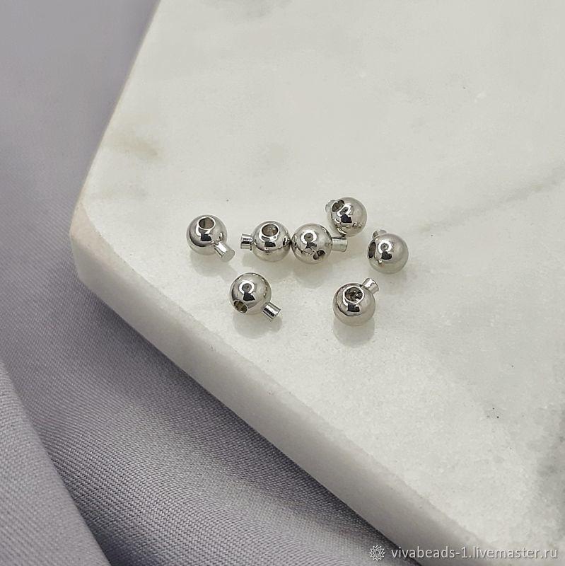 1 PCs. Crimp with lock 3 mm color platinum (5279), Accessories for jewelry, Voronezh,  Фото №1