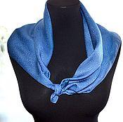 Аксессуары handmade. Livemaster - original item Shawl Neck grey blue color pearl luster jacquard pattern.. Handmade.