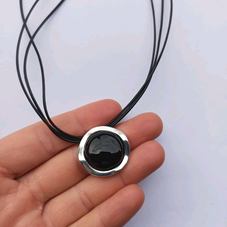 Pendant with black onyx. Silver 925 sample, Pendant, Turin,  Фото №1