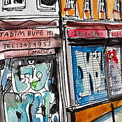 Картины и панно ручной работы. Ярмарка Мастеров - ручная работа Улица Галип Деде в Стамбуле. Handmade.