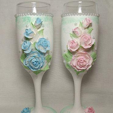 """Посуда ручной работы. Ярмарка Мастеров - ручная работа Свадебные бокалы """"Зефир"""". Handmade."""