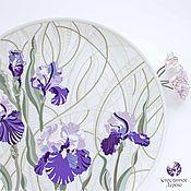 Для дома и интерьера handmade. Livemaster - original item Pearl Iris. Plate ceramic stained glass purple. Handmade.