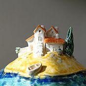 """Для дома и интерьера ручной работы. Ярмарка Мастеров - ручная работа Шкатулка """"Городок у моря"""". Handmade."""