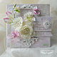 Свадебные открытки ручной работы. Ярмарка Мастеров - ручная работа. Купить открытка свадебная в коробочке «Белые цветы». Handmade. Белый