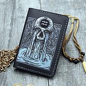 Сумки и аксессуары handmade. Livemaster - original item Leather passport cover with a picture of a Creepy Aquarius. Handmade.