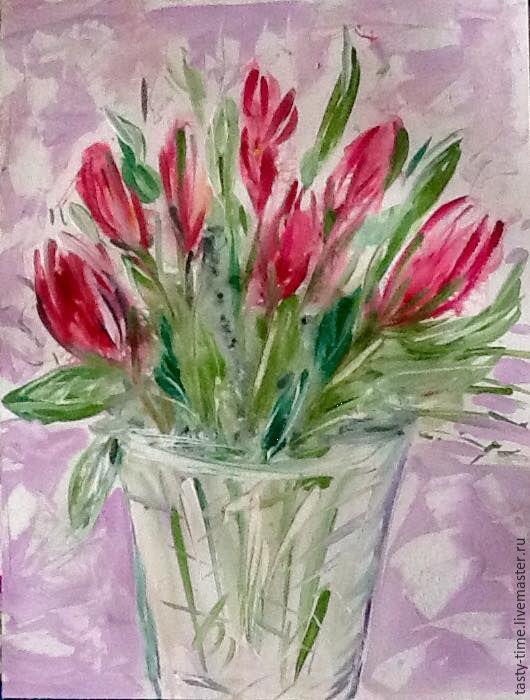 Картины цветов ручной работы. Ярмарка Мастеров - ручная работа. Купить Букет тюльпанов. Handmade. Подарок, тепло и уют, красота
