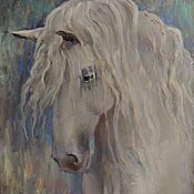"""Картины и панно ручной работы. Ярмарка Мастеров - ручная работа Картина маслом """"Белая лошадь по имени Принцесса"""". Handmade."""