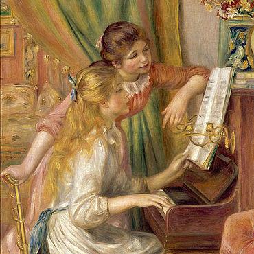 Картины и панно ручной работы. Ярмарка Мастеров - ручная работа Ренуар Пьера Огюст. Две девушки у фортепиано. Handmade.