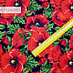 Order  Red Poppies swim fabric. SLAVYANKA. Livemaster. . Fabric Фото №3