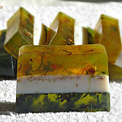 Косметика ручной работы handmade. Livemaster - original item Three-layer herbal soap (calendula-oatmeal-mint). Handmade.