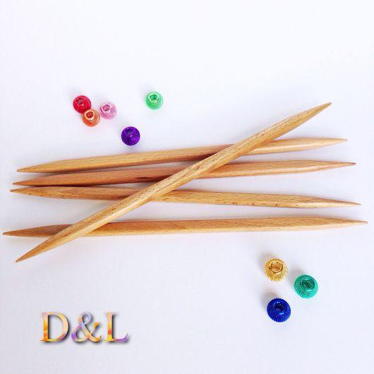 """Вязание ручной работы. Ярмарка Мастеров - ручная работа. Купить Спицы чулочные """"кубики"""" для вязания из натурального дерева. Handmade. Бежевый"""