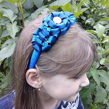 """Аксессуары ручной работы. Ярмарка Мастеров - ручная работа Ободок для волос """"Синий цветочек"""". Handmade."""