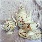 """Посуда ручной работы. Ярмарка Мастеров - ручная работа Кофейный сервиз """"Алиса в стране чудес"""". Handmade."""