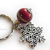 Аксессуары ручной работы. Ярмарка Мастеров - ручная работа Брелок для ключей Снегири на снегу. Handmade.