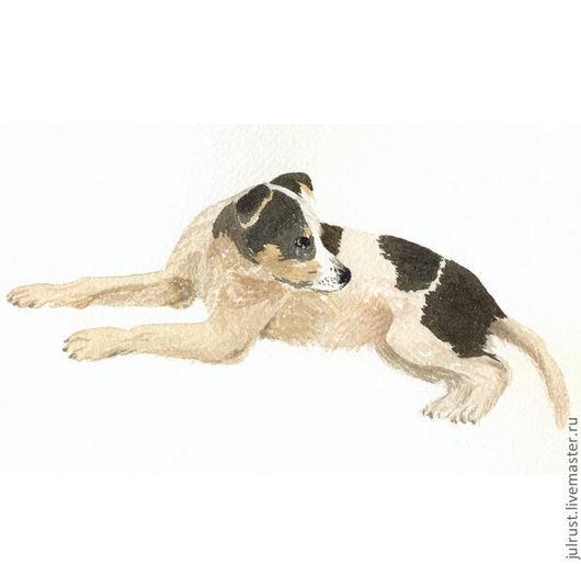 """Животные ручной работы. Ярмарка Мастеров - ручная работа. Купить Картина """"Дворовый пёсик"""". Handmade. Собака, акварель, картина, веселый"""