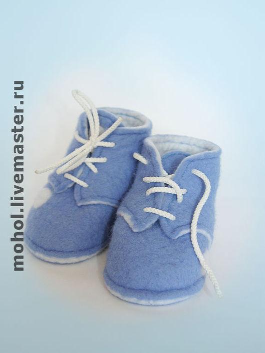 """Для новорожденных, ручной работы. Ярмарка Мастеров - ручная работа. Купить Ботиночки """"Малыш"""". Handmade. Мокрое валяние, детские пинетки"""