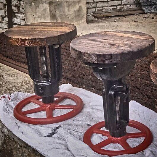 Мебель ручной работы. Ярмарка Мастеров - ручная работа. Купить Вращающийся табурет из вентиля.. Handmade. Табурет, лофт стиль, кухня