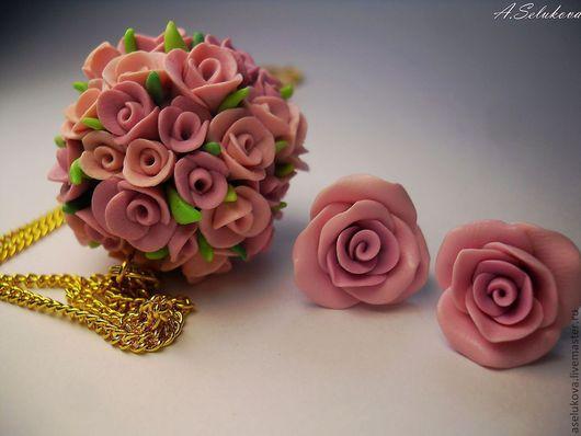 Комплекты украшений ручной работы. Ярмарка Мастеров - ручная работа. Купить Рафаэлло. Handmade. Розы, подвеска, романтика, розовый