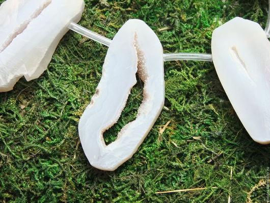 Для украшений ручной работы. Ярмарка Мастеров - ручная работа. Купить УТРЕННИЙ ТУМАН серый агат крупные бусины срезы подвески. Handmade.