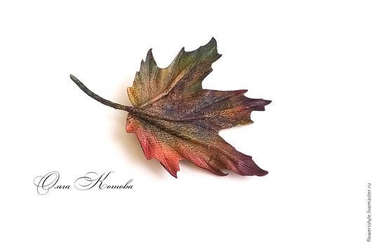 Броши ручной работы. Ярмарка Мастеров - ручная работа. Купить Брошь из кожи Осенний лист клена украшение в подарок кленовый лист. Handmade.