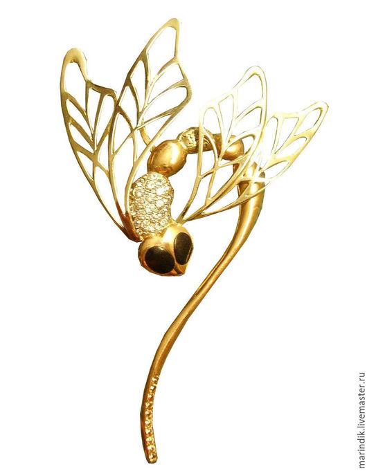 """Броши ручной работы. Ярмарка Мастеров - ручная работа. Купить Брошь-кулон золотая """"Стрекоза"""". Handmade. Золотой, золотой кулон"""
