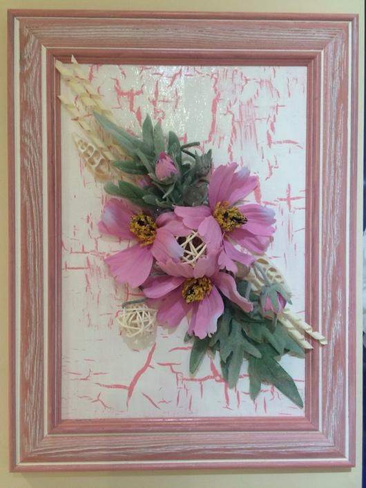 """Интерьерные композиции ручной работы. Ярмарка Мастеров - ручная работа. Купить Флористический коллаж """"розовый кракелюр"""". Handmade. Бледно-розовый"""