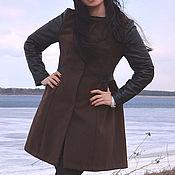 Одежда ручной работы. Ярмарка Мастеров - ручная работа Пальто с Кожаными рукавами. Handmade.