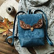 Backpacks handmade. Livemaster - original item Backpack made of genuine leather and suede