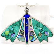Украшения handmade. Livemaster - original item Pendant Butterfly. Malachite, Lapis Lazuli, Mother Of Pearl. Pendant natural stones.. Handmade.