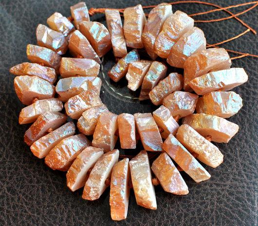 Для украшений ручной работы. Ярмарка Мастеров - ручная работа. Купить Кварц с радужным покрытием Пудрово-персиковый. Handmade.