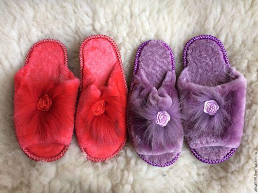 Обувь ручной работы. Ярмарка Мастеров - ручная работа. Купить Тапочки из овчины женские 37 размер. Handmade. Сиреневый