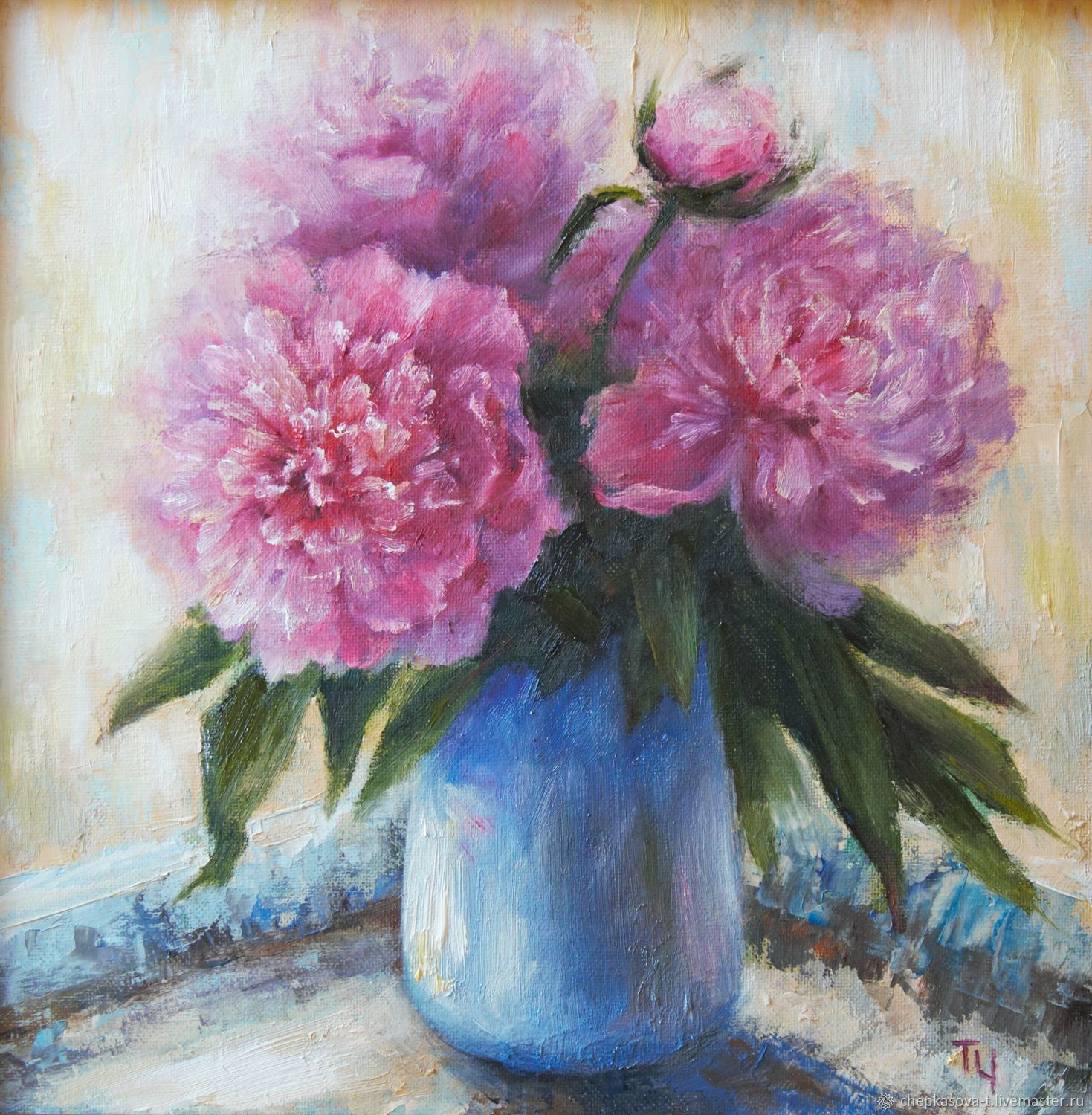 Oil painting: Pink peonies, 30h30 cm, Pictures, Moscow,  Фото №1