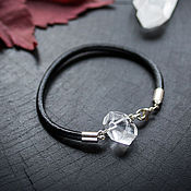Украшения handmade. Livemaster - original item Bracelet with rock crystal, quartz, leather bracelet, minimalist. Handmade.