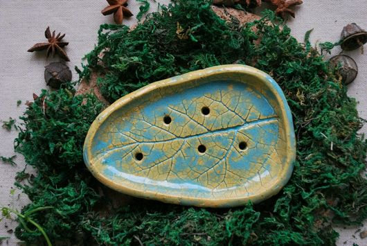 """Ванная комната ручной работы. Ярмарка Мастеров - ручная работа. Купить Мыльница """"Листик"""". Handmade. Тёмно-зелёный"""