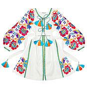 "Одежда handmade. Livemaster - original item Short dress with wedges ""Floral fantasy"". Handmade."
