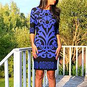 Одежда handmade. Livemaster - original item 086-black Dress with blue pattern. Handmade.
