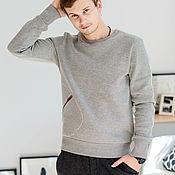 Одежда handmade. Livemaster - original item Men`s sweatshirt gray striped zip pocket.. Handmade.