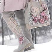 """Обувь ручной работы. Ярмарка Мастеров - ручная работа Комплект ботфорты и сумка """"Зимняя акварель"""". Handmade."""