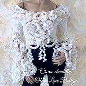 """Одежда ручной работы. Ярмарка Мастеров - ручная работа Укороченный джемпер """"Creme Chantilly"""" от Olga Lace. Handmade."""