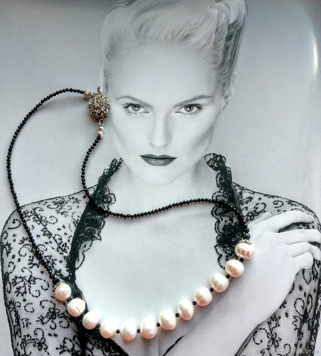 Pearl necklace and black spinel Charm, Necklace, Tuchkovo,  Фото №1