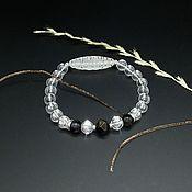 Фен-шуй и эзотерика handmade. Livemaster - original item bracelet with dzi 21 eyes. Crystal and rainbow obsidian. Handmade.