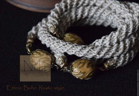 браслет, льняной браслет, льняное украшение, Вязаный браслет, вязаное украшение, вязаный жгут, браслет крючком, натуральные материалы, бохо стиль, намотка, стильный браслет, стильное украшение, этно