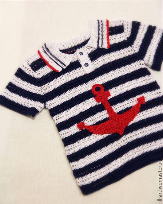 """Одежда для мальчиков, ручной работы. Ярмарка Мастеров - ручная работа. Купить Футболка """" Якорь"""". Handmade. Разноцветный, красивый подарок"""